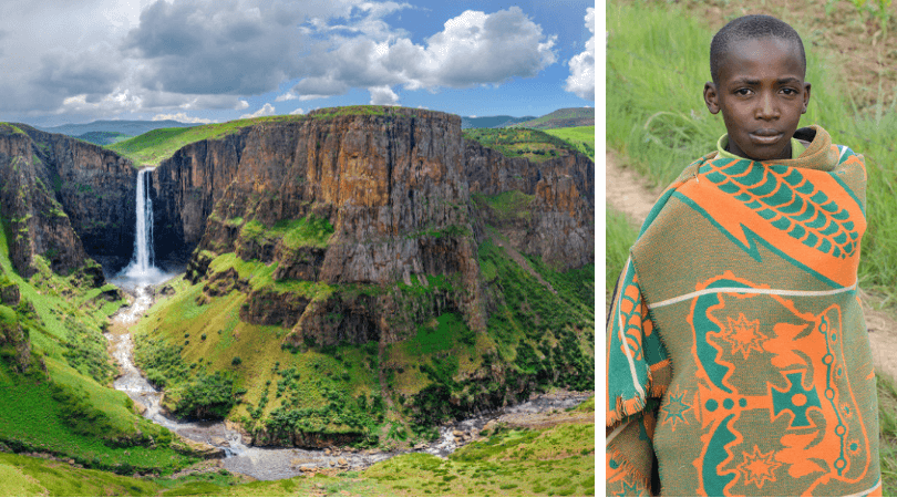 Lesotho facts for kids: Waterfalls and Blanket boy - images by MBrand85 and GilK/shutterstock.com