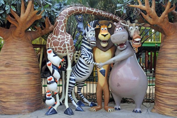 Madagascar characters in Disneyland Gold Coast