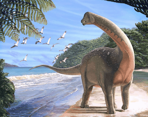 Mansourasaurus - life reconstruction by Andrew Mc Afee - Carnegie Museum of Natural History