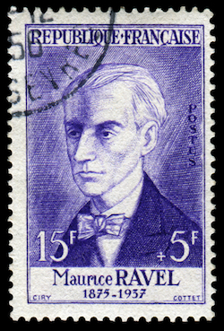 Maurice Ravel portrait on stamp - image by wantanddo/shutterstock.com