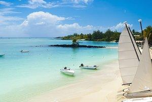 Indian Ocean islands white beach with catamarans