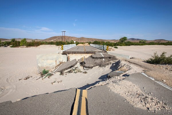 Washed out road after flooding in the Mojave Desert