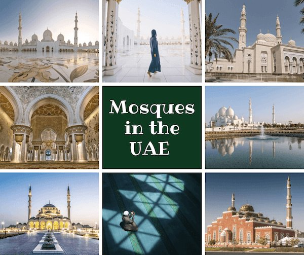 Mosques in the UAE collage - images by shutter stock.com