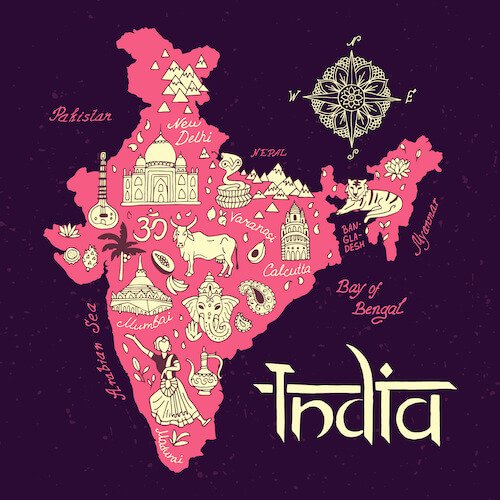 My incredible India map with icons in pink and purple - image from Shutterstock