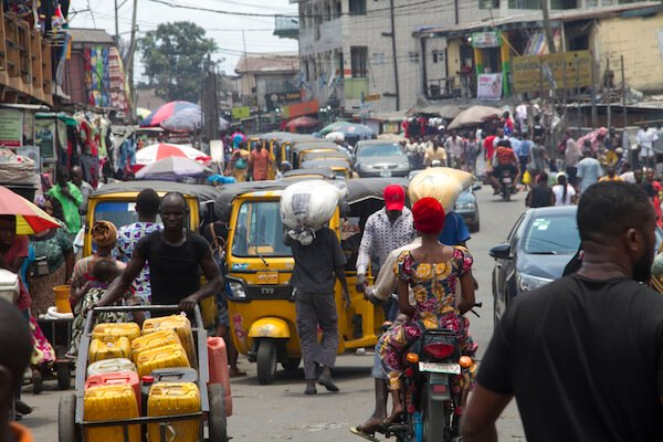 Busy street in Lagos Nigeria - image by Tayvay/shutterstock.com