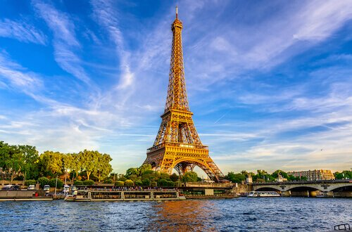 Eiffel Tower in Paris and Seine