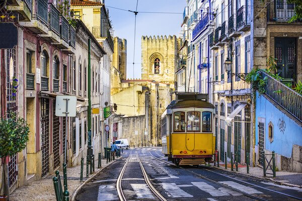 Portugal attraction: Yellow tram in the Lisbon streets