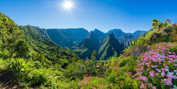 La Réunion landscape with volcanic peaks