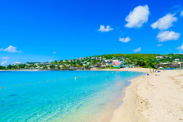 White sandy beach in Saint Gilles on La Reunion