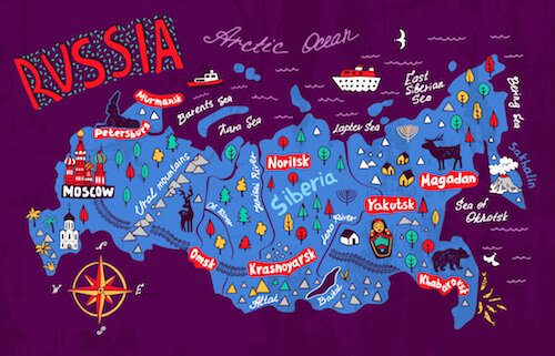 Russia map cartoon - shutterstock.com