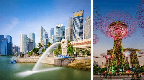 Singapore Merlion and Gardens on the Bay - image by Sean Pavone