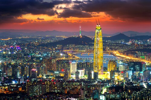 Lotte World Tower. South Korea borders the Pacific Ocean in the Yellow Sea