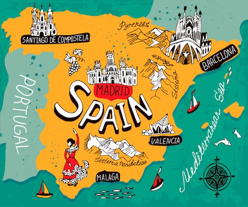 Show Me The Map Of Spain.Spain Facts For Kids Spain For Kids Geography Travel Food