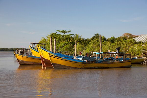 Suriname fishermen's boats in South America