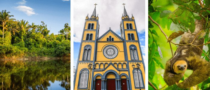 Suriname images: Suriname River by Marcel Bakker, Paramaribo cathedral by Anton Ivanov and Sloth/all by shutterstock.com
