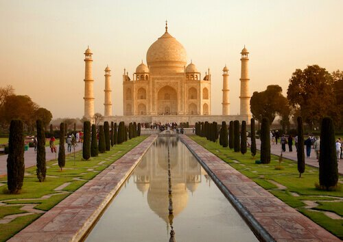 Taj Mahal in India at Sunrise