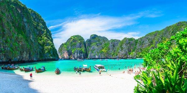 Maya Bay Beach on Phi Phi island in Thailand