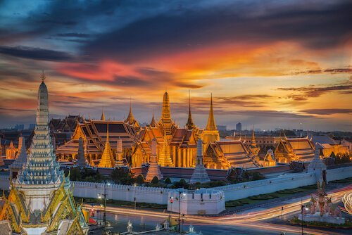 Thailand Grand Palace in Asian sunset