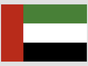 The UAE Flag has a red vertical band on the left hand side and three equally wide horizontal bands in green, white and black.