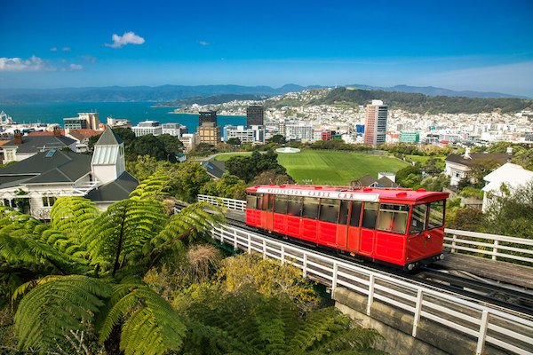 New Zealand Wellington and red cable car - image by shutter stock